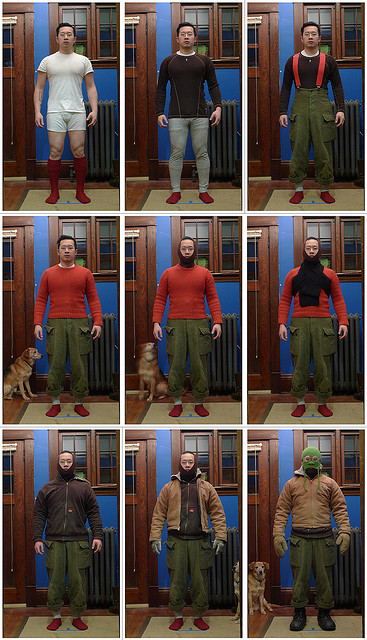 How to dress to walk the dog.